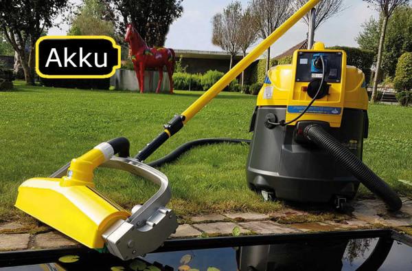Akku Motorbuerste 44cm breit zur Absaugung am Schlammsauger angeschlossen