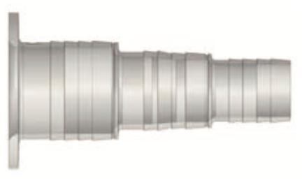 Schlauchtülle transparent mit Flansch Ø63mm, Schlauch Ø50/40/38/32mm